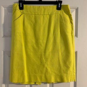 J. Crew yellow cotton pencil skirt pockets 8